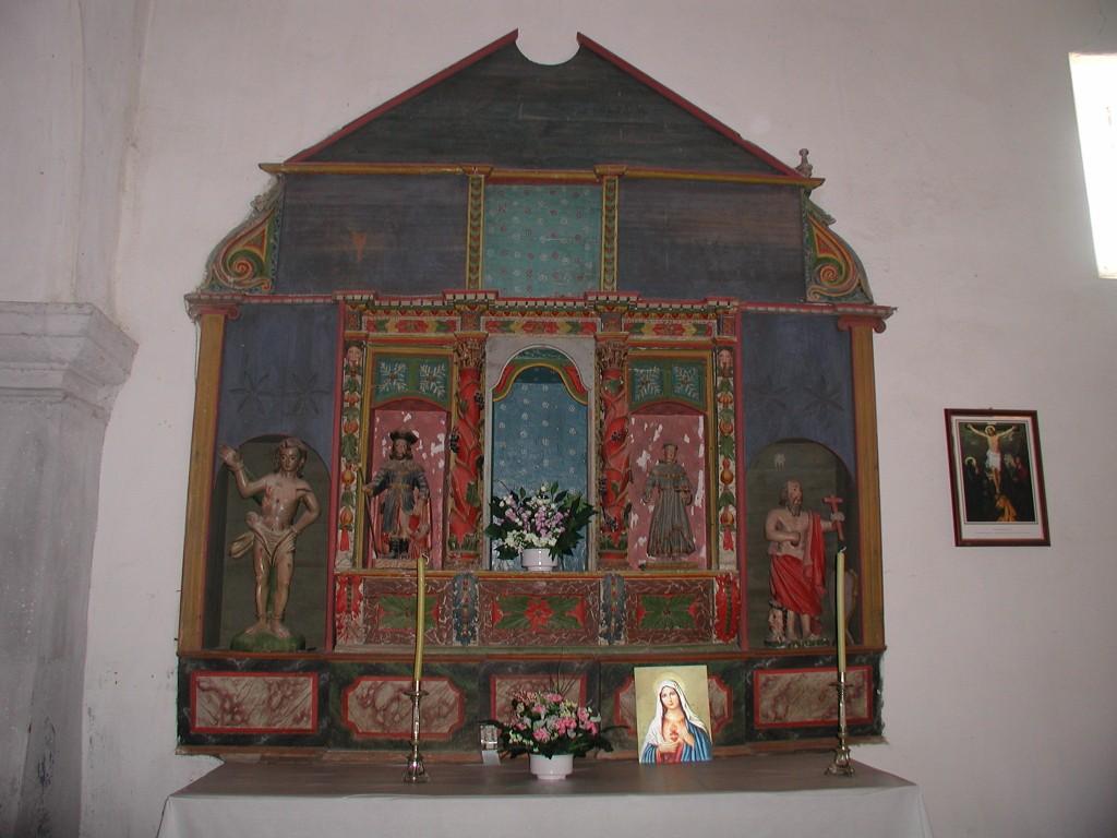 Retábulo con santos varóns, entre eles San Sebastián e San Roque, avogosos contra a peste.